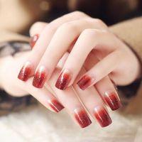 Glitter Powder Gradient Wine Red Nail Art == | Nail art ...