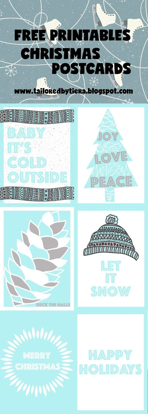 Christmas Postcards: Blue and White  Christmas / Happy Holidays / Christmas Tree / Snow / Merry Christmas/ Joy, Love, Peace  5x7 Prints: