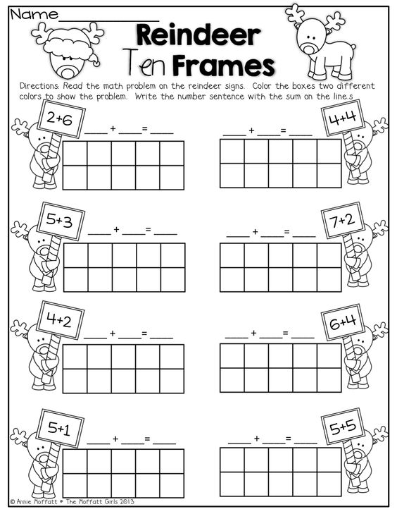 Reindeer Ten Frames! Simple math problems with ten frames