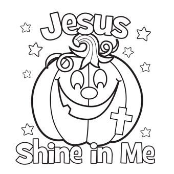 Shine With The Light Of Jesus Coloring Page Pumpkin