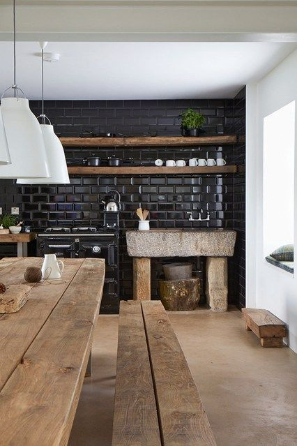 25 Absolutely Charming Black Kitchen Interiorforlife.com Reclaimed Black: