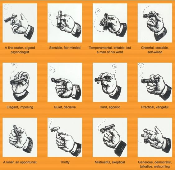 What the way you hold your cigar says about you...I got a good psychologist={)