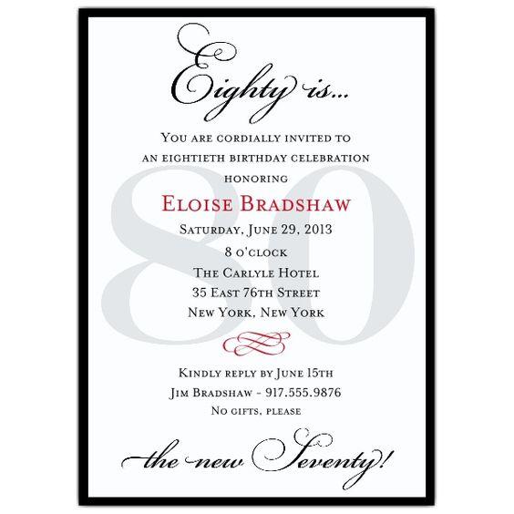 80th birthday, 80th birthday invitations and Invitation
