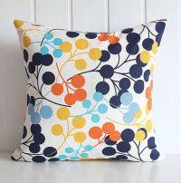 Navy Blooms Decorative Pillow Cover - Orange Yellow Aqua ...