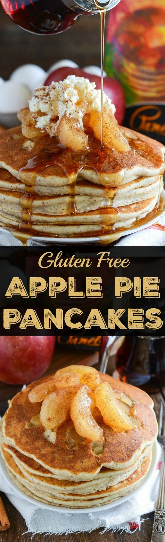 Gluten-Free Apple Pie Pancakes Recipe via The Novice Chef - with warm bites of cinnamon apples cooked inside!