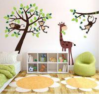 Monkey Tree Jungle Nursery Wall Art Stickers Decals ...