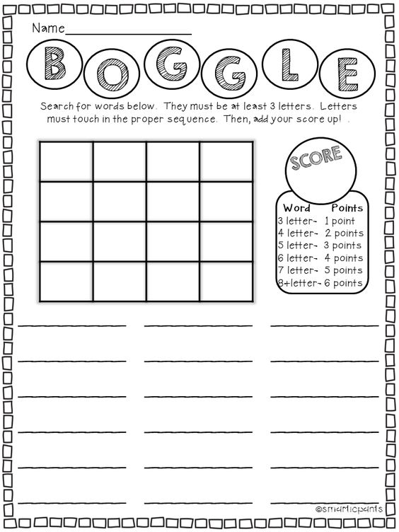 Daily 5 / Word Work Boggle Template http://www
