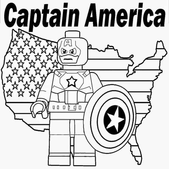 Printable Lego Marvel Superheroes Captain America Coloring