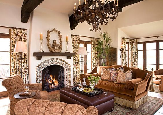 Image Result For Spanish Style Large White Stucco Fireplace Tile Fireplace + Windows | Old World, Mediterranean