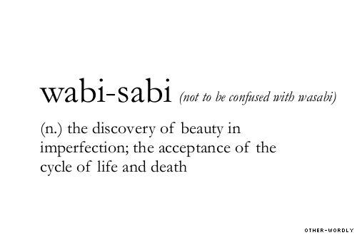 Japanese word 侘び寂び wabi-sabi