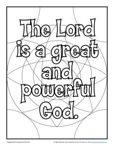 The Lord is a Great and Powerful God! Coloring Page