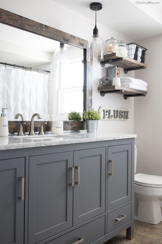 This Industrial Farmhouse Bathroom is the perfect blend of styles and creates such a cozy atmosphere!: