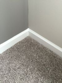Our gray carpet and the dark gray (SW Dovetail) accent ...