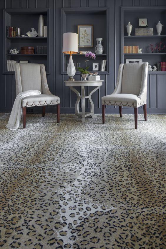 Navy blue living room with leopard carpet  Carpet