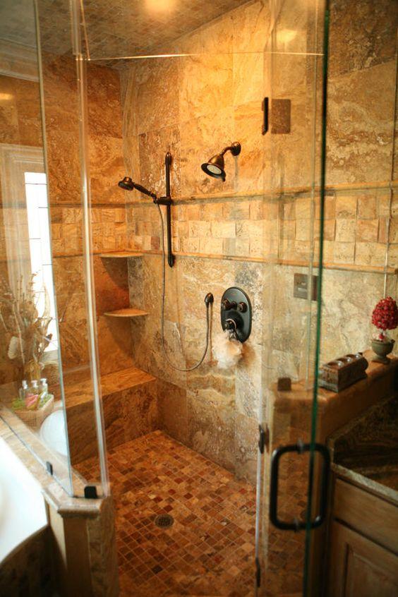 scabos travertine bathroom  custom shower designs scabos