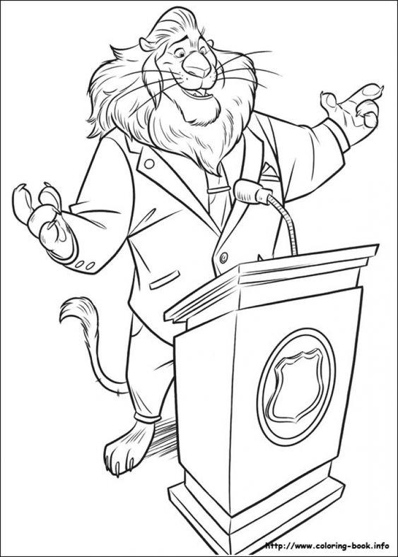 Mayor Lionheart giving speech in Printable Disney Zootopia