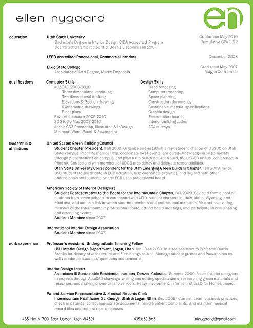 interior design resume  2014  School  Portfolio Ideas