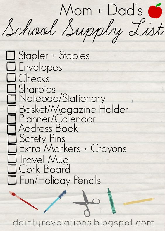 Mom + Dad's School Supply List! (You need these 10 things