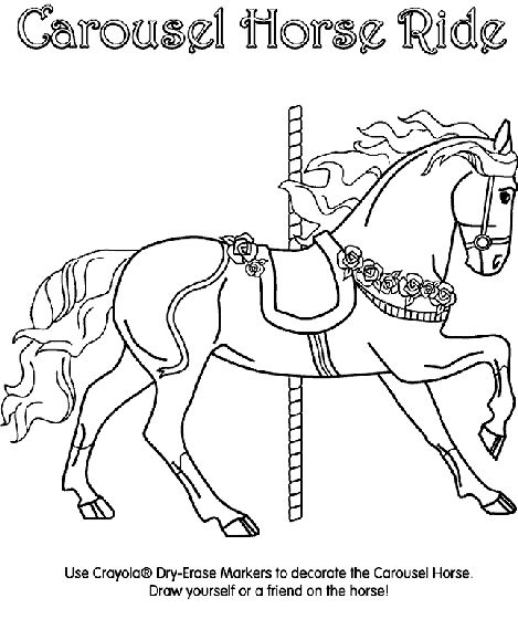 Horse coloring pages, Carousel horses and Carousels on