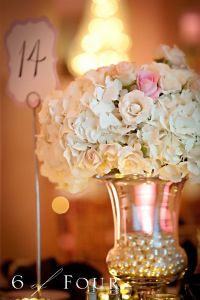 Floral centerpiece with faux pearl vase filler. | * pearls ...