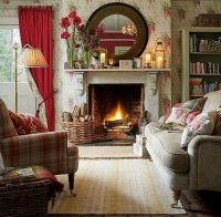 Cottage room with amaryllis bulbs on the mantel ...