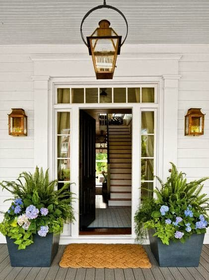 Shade loving container gardening, planters for front porch, ferns, hydrangea and sweet potato vine...: