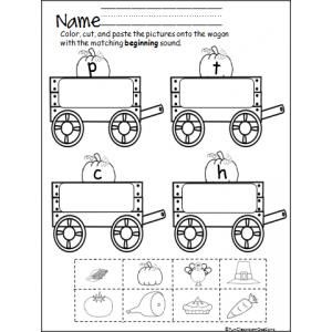 Free worksheet for Fall. Beginning sounds wagon is a fun