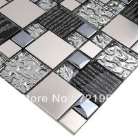 Silver metal mosaic stainless steel tile kitchen ...