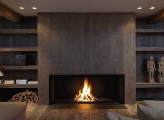 Ethanol Fireplace With Mantle Contemporary Fireplace (wood-burning Open Hearth