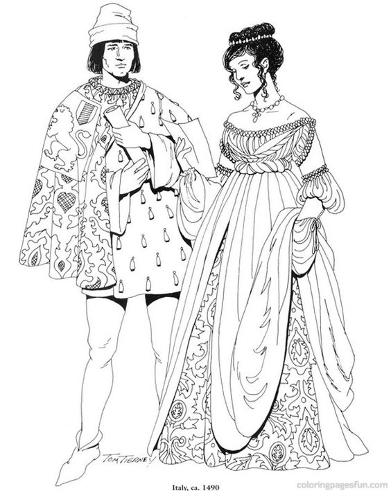 Renaissance Costumes and Clothing Coloring Pages 15