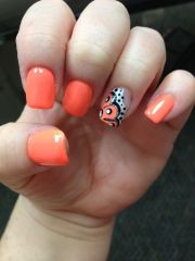 neon orange nails.#foreverfrench
