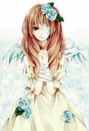 brown hair boy with blue angel