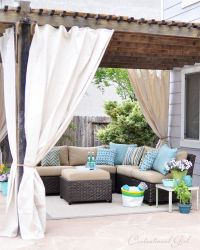 Easy outdoor curtain diy tutorial made from Lowes' canvas ...