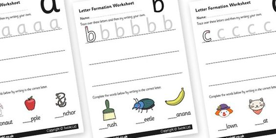 Letter formation, Worksheets and Learning to write on