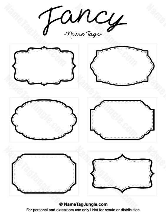 Free printable fancy name tags. The template can also be