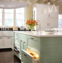 light blue kitchen white cabinets | ... Design  Makeover ...