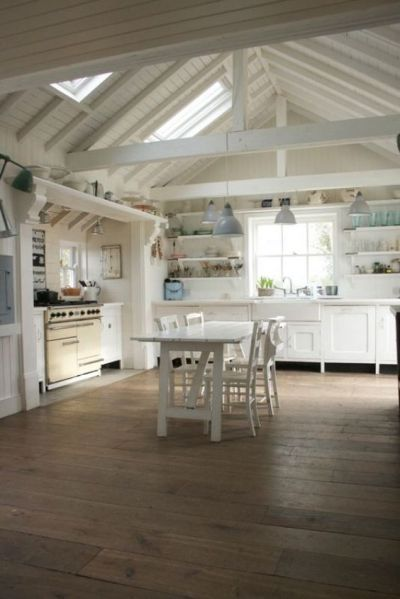 open kitchen with ceiling beams Film Your Next Movie in This English Country House   Stove, Kitchen ceilings and High ceilings