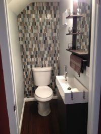 Small bathroom with glass tile backsplash | For the Home ...