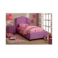 Purple Twin Bed Girls Button Tufted Headboard Furniture ...