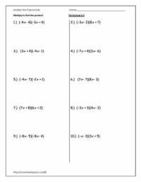 Multiply Polynomials Worksheet-4 | Math Madness | Pinterest