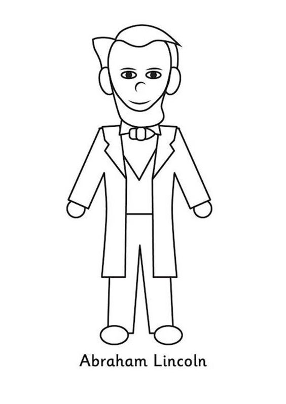 A Kids Drawing of Abraham Lincoln Coloring Page