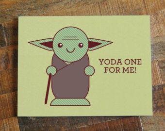 "Star Wars Pun Greeting Card ""Yoda One For Me"" - Nerd Love Card, Geek Cards, Chibi Cute Yoda, Anniversary Card, Valentines Day Card:"
