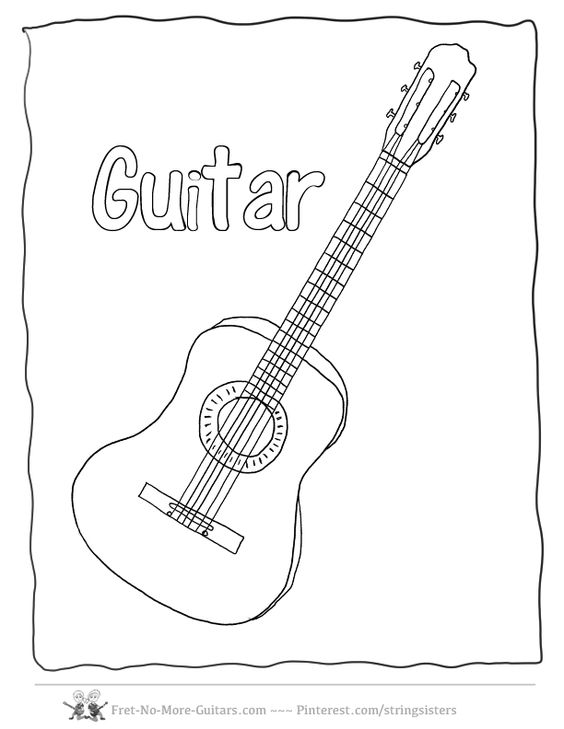 guitar Coloring Pages Acoustic Guitar at www.fret-no-more