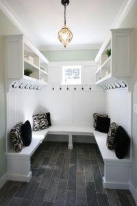 Mud Room with beautiful slate floors and pendant light. # ...