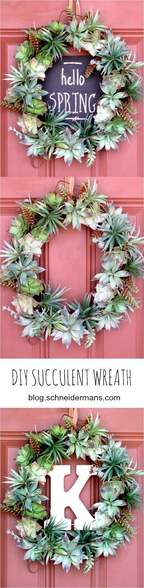 Spring Door Decor Inspiration + A DIY Wreath using faux succulents (3 Ways) via Schneidermans