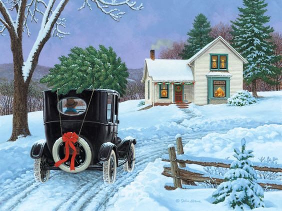 Wallpapers Snow House Car Warm Old Fashioned Christmas Art Fine Pinterest