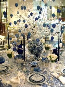What a great table... white and white and blue all over!: