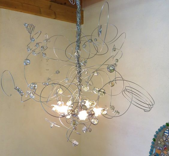 Wire Chandelier Led Transpa Glas Marbles Pendant Light Hanging Lamp Handmade