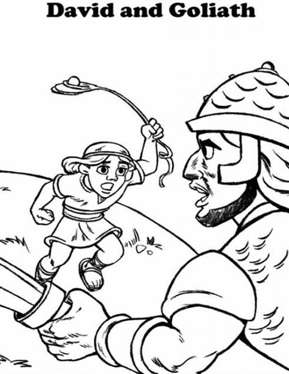 Coloring pages, David and goliath and In the bible on