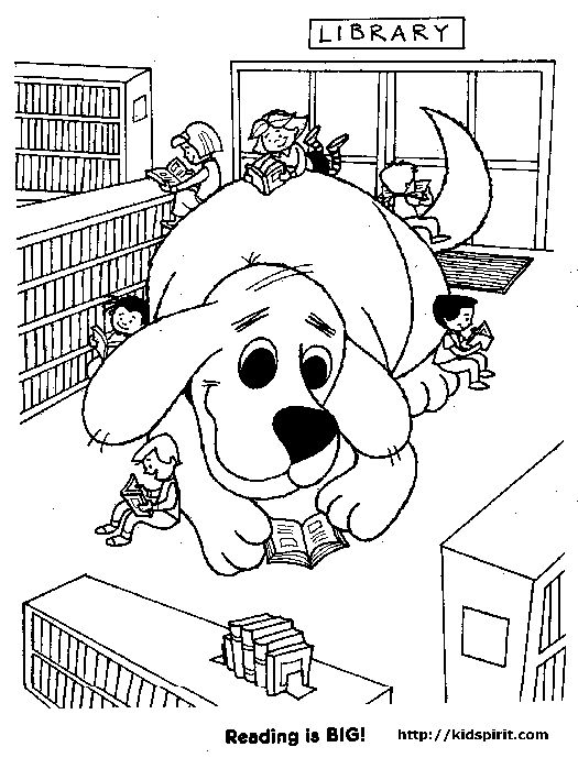 Clifford in Library Clifford the Big Red Dog Coloring